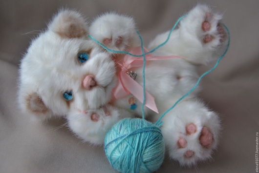 Мишки Тедди ручной работы. Ярмарка Мастеров - ручная работа. Купить тедди котенок Мишель. Handmade. Тедди котенок