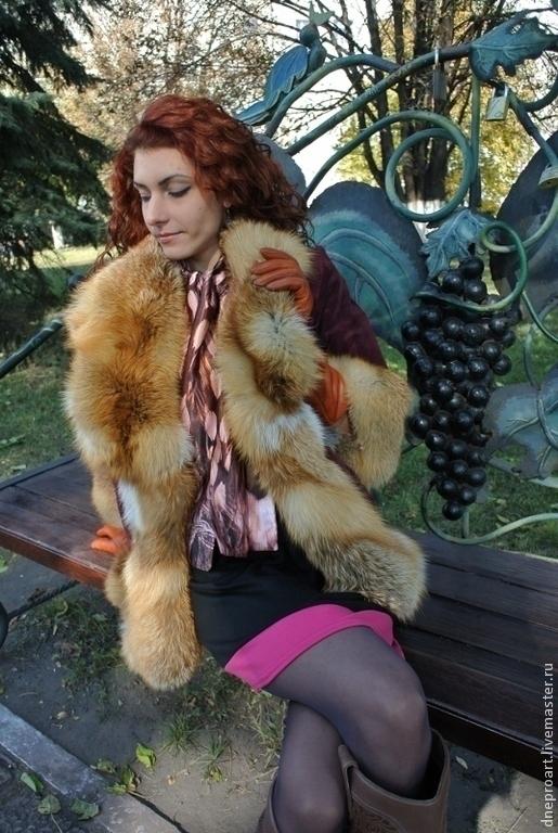 Верхняя одежда ручной работы. Ярмарка Мастеров - ручная работа. Купить Пальто-куртка зимняя бордо,замшевая с мехом лисы. Handmade.