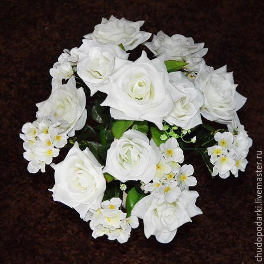 Искусственные растения ручной работы. Ярмарка Мастеров - ручная работа. Купить Композиция из роз и гортензий, (цвет белый и желтый). Handmade.