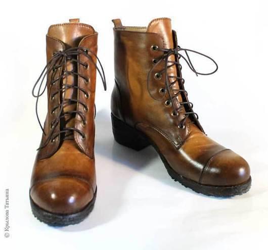 Обувь ручной работы. Ярмарка Мастеров - ручная работа. Купить Ботинки в стиле милитари. Handmade. Ботинки женские, милитари