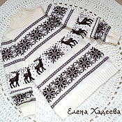 Одежда ручной работы. Ярмарка Мастеров - ручная работа Свитерок - Олени - Снежинки белый + шоколад. Handmade.
