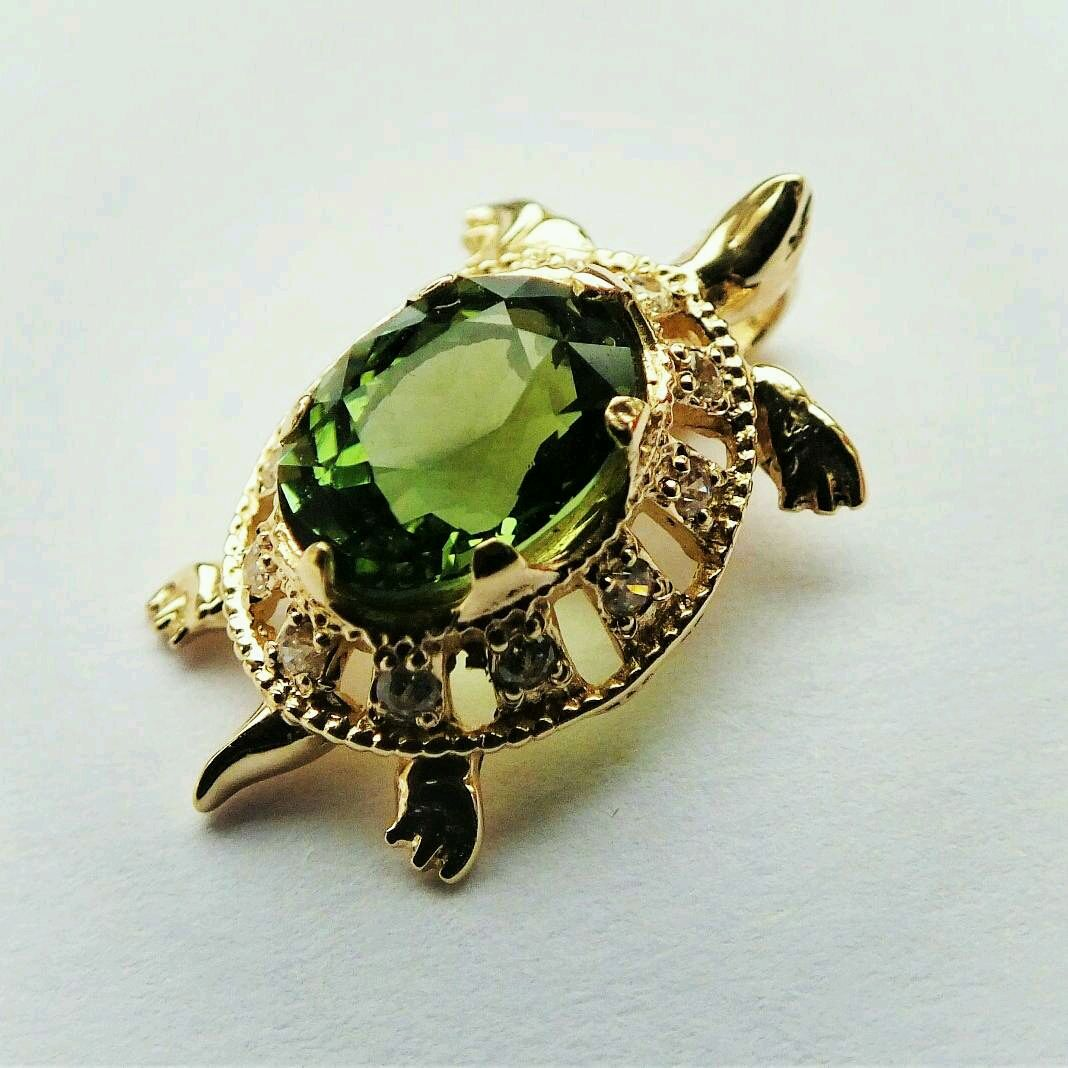 Turtle pendant-tourmaline, gold 585, Pendants, Moscow,  Фото №1