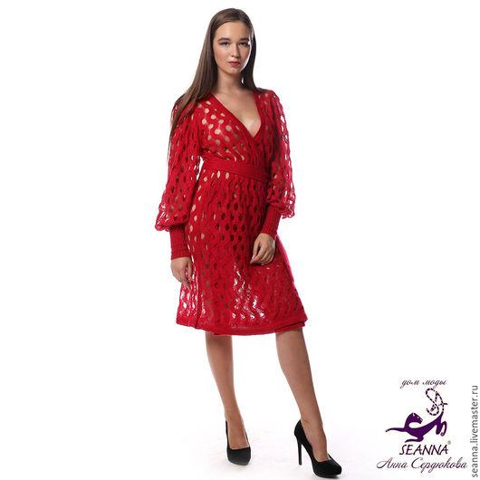 """Платья ручной работы. Ярмарка Мастеров - ручная работа. Купить Платье-пальто вязаное """"Рубиновые волны"""" из мягкого итальянского мохера. Handmade."""