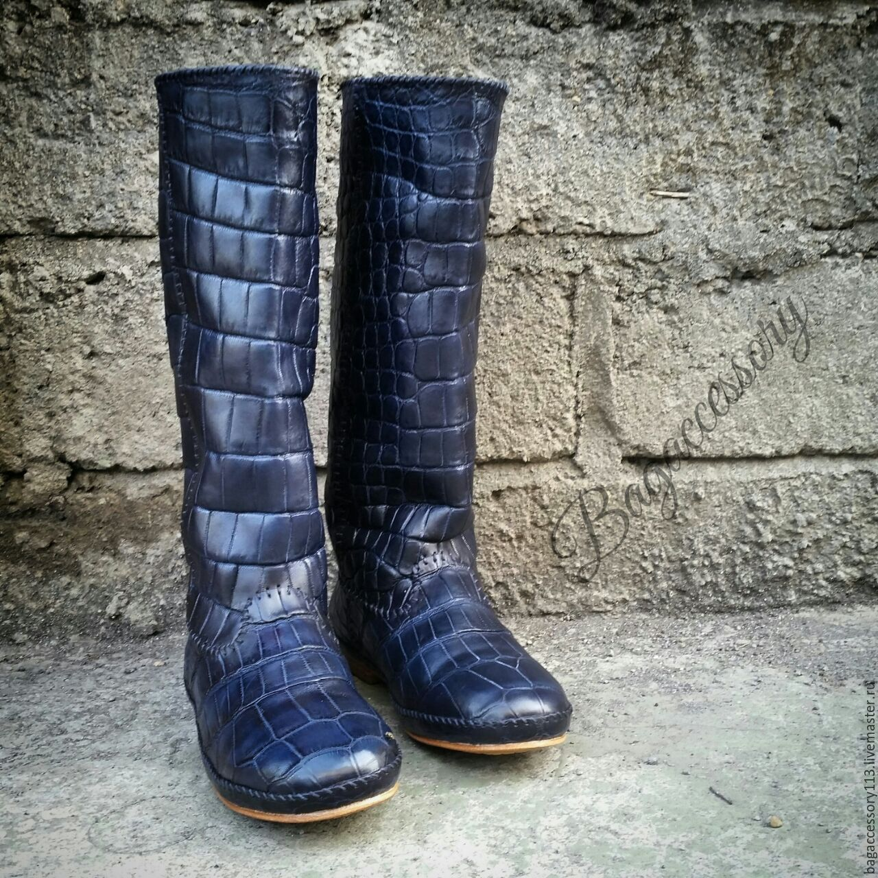 Handmade Shoes handmade. Livemaster - handmade. Buy Boots genuine leather alligator.Boots, dark blue, leather boots