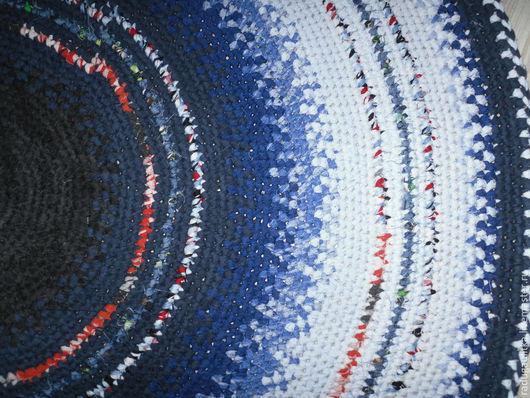 """Текстиль, ковры ручной работы. Ярмарка Мастеров - ручная работа. Купить Текстильный вязаный коврик  """"Морской"""". Handmade. Голубой, круглый"""