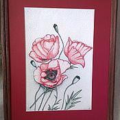 """Картины и панно ручной работы. Ярмарка Мастеров - ручная работа """" Маки"""" Точечный рисунок.. Handmade."""
