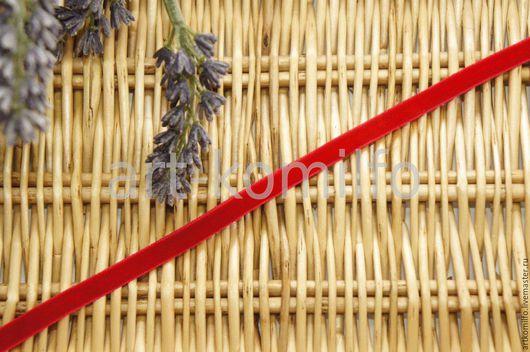 Шитье ручной работы. Ярмарка Мастеров - ручная работа. Купить Лента бархатная 0,6см. цвет красный. (арт. 8539). Handmade.