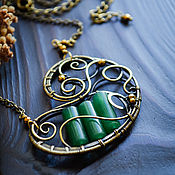 Украшения handmade. Livemaster - original item Brass pendant with jade Pendant on necklace chain Green. Handmade.