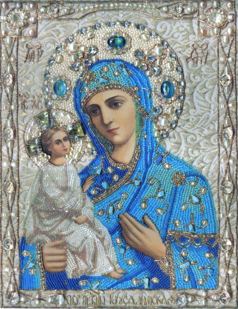 Икона Богоматери Иерусалимская вышитая бисером, Иконы, Рязань,  Фото №1