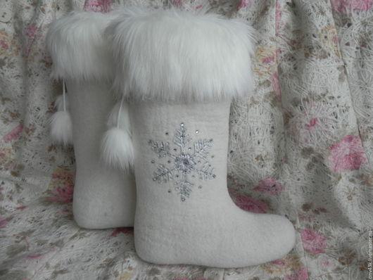 """Обувь ручной работы. Ярмарка Мастеров - ручная работа. Купить Валенки """"Зимушка-зима"""". Handmade. Белый, валенки для улицы"""