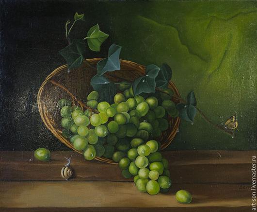 Натюрморт ручной работы. Ярмарка Мастеров - ручная работа. Купить Натюрморт с виноградом и улиткой. Handmade. Зеленый, капли, картина маслом