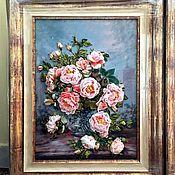 Картины и панно ручной работы. Ярмарка Мастеров - ручная работа Белые розы.Вышивка лентами.Продана. Handmade.