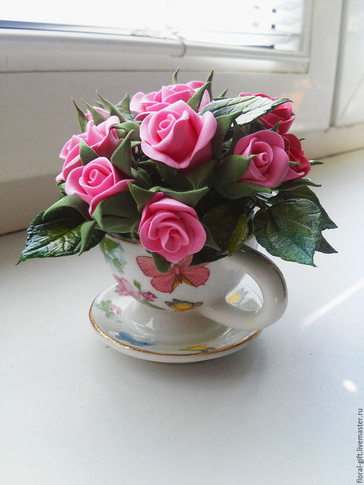 Интерьерные композиции ручной работы. Ярмарка Мастеров - ручная работа. Купить Маленькая чашечка с розами из полимерной глины. Handmade. Розовый