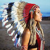 Подарки к праздникам handmade. Livemaster - original item Indian hat with feathers. Indian Christmas costume. Indian roach. Handmade.
