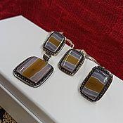 Украшения handmade. Livemaster - original item Silver set with landscape agate. Earrings, pendant and ring. Handmade.