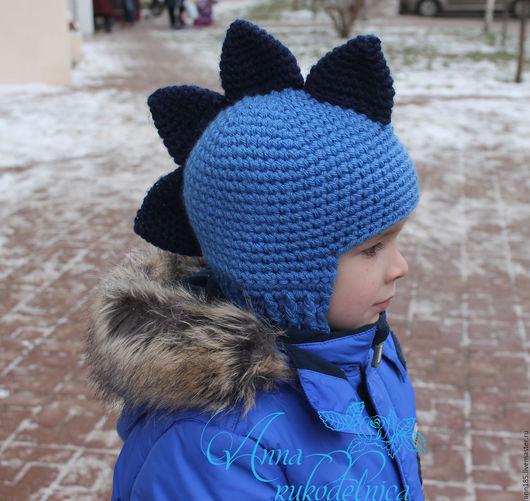 Шапки и шарфы ручной работы. Ярмарка Мастеров - ручная работа. Купить Шапка-шлем «Дракон». Handmade. Тёмно-синий