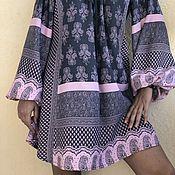 Одежда handmade. Livemaster - original item Dress-tunic in cotton with long sleeves, this boho rose smoke.. Handmade.
