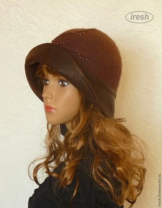 """Шляпы ручной работы. Ярмарка Мастеров - ручная работа. Купить Валяная шляпа """"Любимая"""" коричневая.. Handmade. Коричневый"""