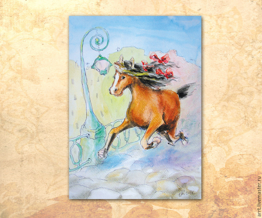 Postcard Happy horse, Cards, St. Petersburg, Фото №1