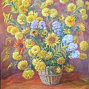 Картины и панно handmade. Livemaster - original item Oil painting Golden balls. painting. Solar basket.. Handmade.