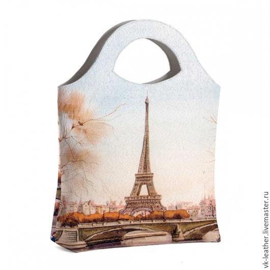 Женские сумки ручной работы. Ярмарка Мастеров - ручная работа. Купить Сумка тоут на руку Париж. Handmade. Разноцветный