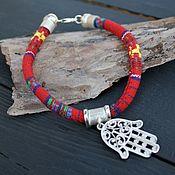 Украшения handmade. Livemaster - original item Red Hand of God Lace Bracelet. Hamsa. 925 silver. Handmade.