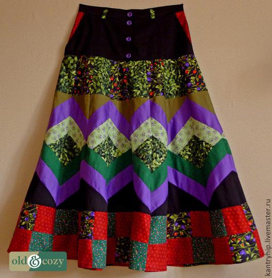 """Юбки ручной работы. Ярмарка Мастеров - ручная работа. Купить Лоскутная юбка """"Парк"""". Handmade. Разноцветный, цветочный, длинная юбка"""