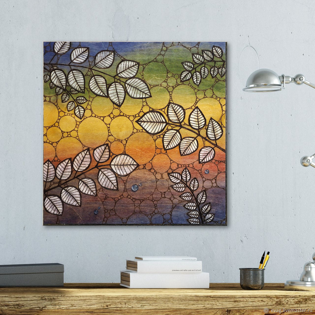 """The painting on wood 50x50sm """"Branches"""", Pictures, Moscow,  Фото №1"""
