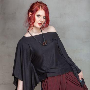Одежда ручной работы. Ярмарка Мастеров - ручная работа С_008 Блуза Квадро, цвет черный. Handmade.