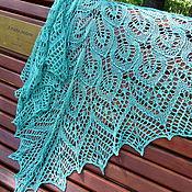 Аксессуары handmade. Livemaster - original item Shawl knitted openwork silk Firyuza, shawl knitting. Handmade.