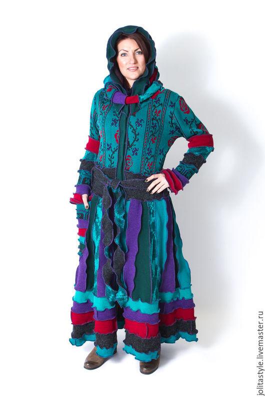 Верхняя одежда ручной работы. Ярмарка Мастеров - ручная работа. Купить Шерстяной свитер- пальто. Handmade. Тёмно-бирюзовый, женственность
