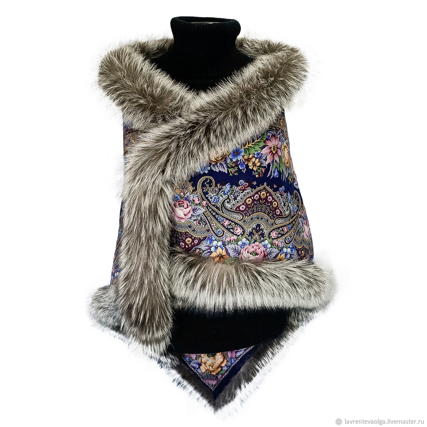 Pavlovo Posad shawl with fur 'Stop the moment', Shawls1, Moscow,  Фото №1