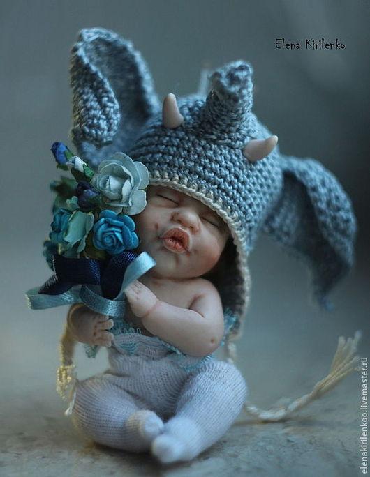 """Коллекционные куклы ручной работы. Ярмарка Мастеров - ручная работа. Купить """"Мамонтенок"""". Handmade. Синий, хлопок"""