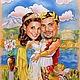 """Шарж с сюжетом по фотографии. Шарж портретный с сюжетом """"В Греции"""", формат 40х50 см, выполнен сухой пастелью."""