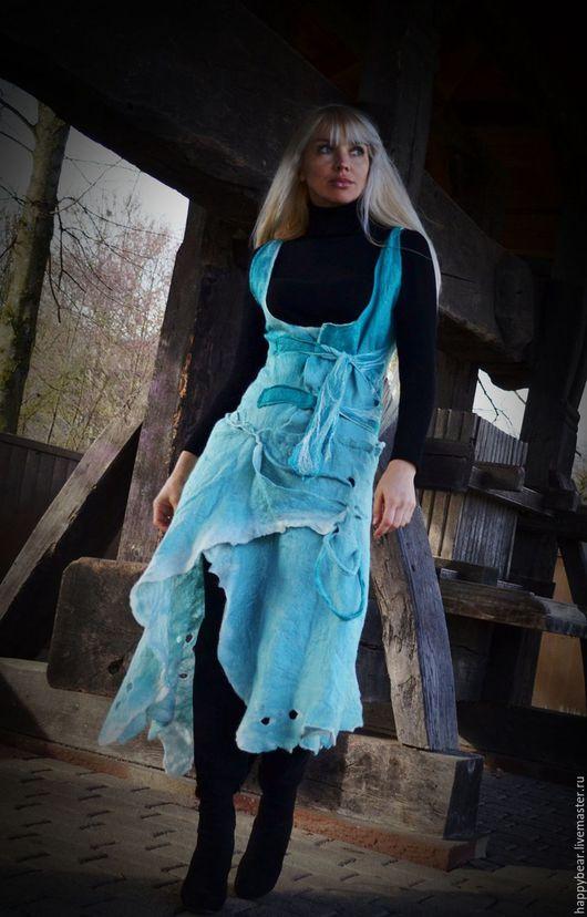 """Платья ручной работы. Ярмарка Мастеров - ручная работа. Купить валяный бохо сарафан """"В синем море, в белой пене..."""". Handmade."""