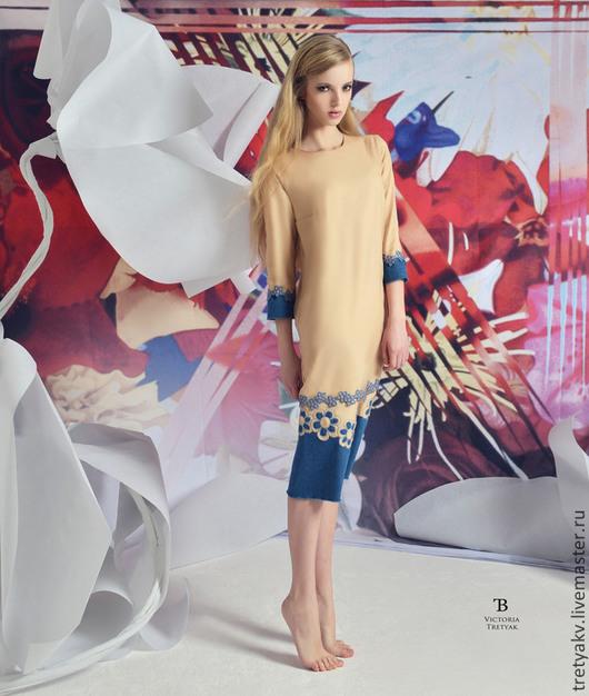 Платья ручной работы. Ярмарка Мастеров - ручная работа. Купить Платье. Handmade. Бежевый, платье летнее, платье комбинированное