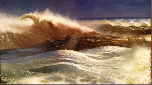 Пейзаж ручной работы. Ярмарка Мастеров - ручная работа. Купить Авторская картина Радуга в океане.. Handmade. Морской пейзаж, тряпка