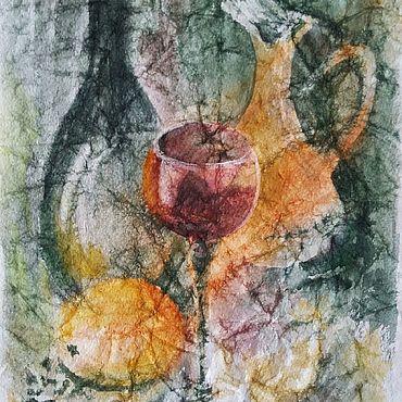 Картины и панно ручной работы. Ярмарка Мастеров - ручная работа Картина натюрморт акварелью на мятой бумаге Натюрморт с бокалом вина. Handmade.