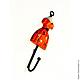 Крючок настенный Платье оранжевое