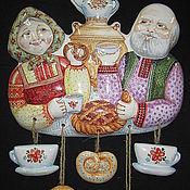 """Картины ручной работы. Ярмарка Мастеров - ручная работа Керамическое панно """"Дед и Баба"""",""""Чаепитие"""". Handmade."""