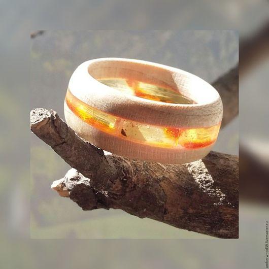 Кольца ручной работы. Ярмарка Мастеров - ручная работа. Купить Кольцо деревянное с натуральным янтарем. Handmade. Бежевый, кольцо