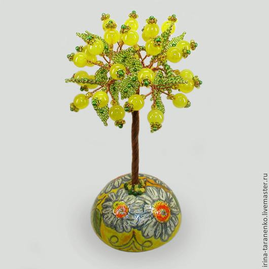 Дерево из опала `Цветочный рай` на расписной сфере