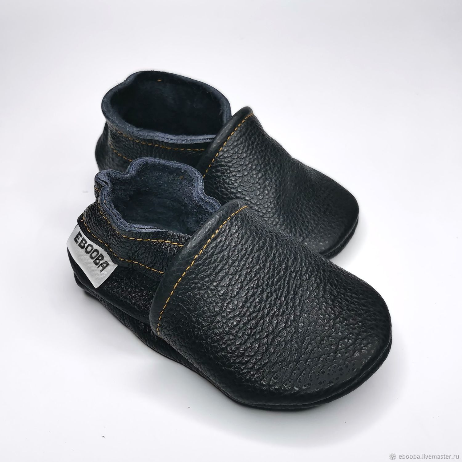 Baby Moccasins, Baby Slippers, Black baby shoes,Ebooba, Babys bootees, Kharkiv,  Фото №1