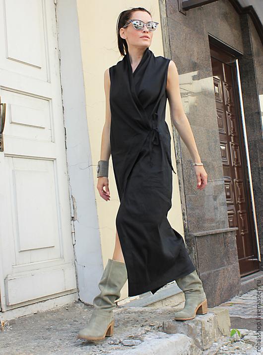 R00019 Сарафан Летнее платье длинное платье платье в пол жилет кардиган длинный жилет платья платье на лето черное платье длинное платье прямое лето 2015 платье на выход красивое платье вечернее