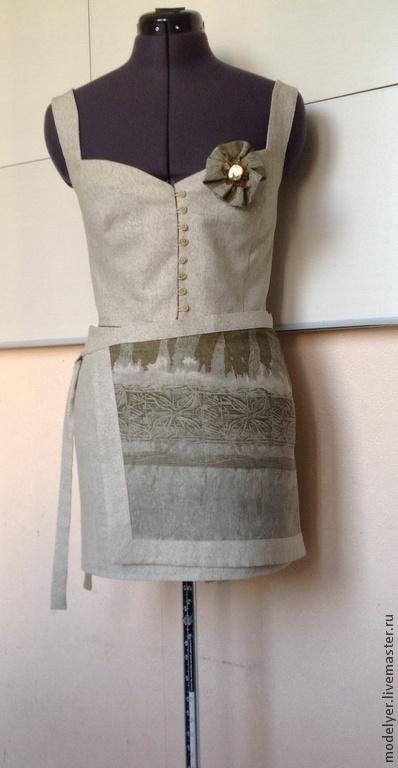 Пиджаки, жакеты ручной работы. Ярмарка Мастеров - ручная работа. Купить Корсаж и юбка nature 44 лен хакки. Handmade.