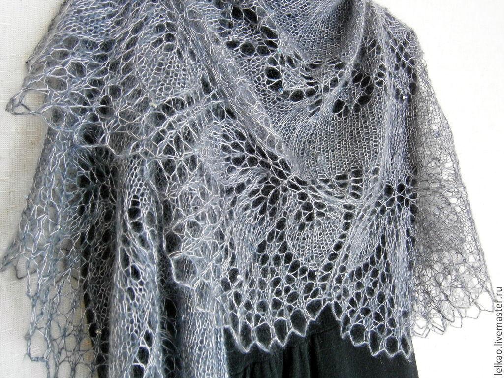 вязание спицами ажурная шаль паутинка пошагово