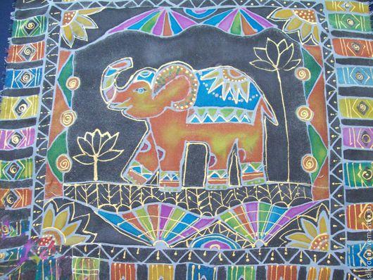 Этно ручной работы. Ярмарка Мастеров - ручная работа. Купить Слон декоративный принт. Handmade. Разноцветный, слоник, подушка на диван