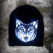 """Работы для детей, ручной работы. Ярмарка Мастеров - ручная работа Шапка с волком. Шапка с валяным рисунком """"Волк"""". Handmade."""