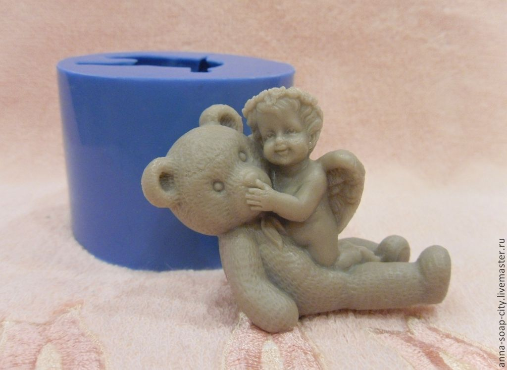 Silicone mold for soap and candles ' angel and bear', Makeup tools, Arkhangelsk,  Фото №1