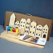 """Для дома и интерьера ручной работы. Ярмарка Мастеров - ручная работа Полка """"Домики"""" (набор для сборки с красками) для детской комнаты. Handmade."""
